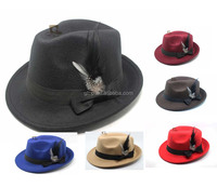 BLACK feather faux wool felt fedora hats trilby cap WH-250