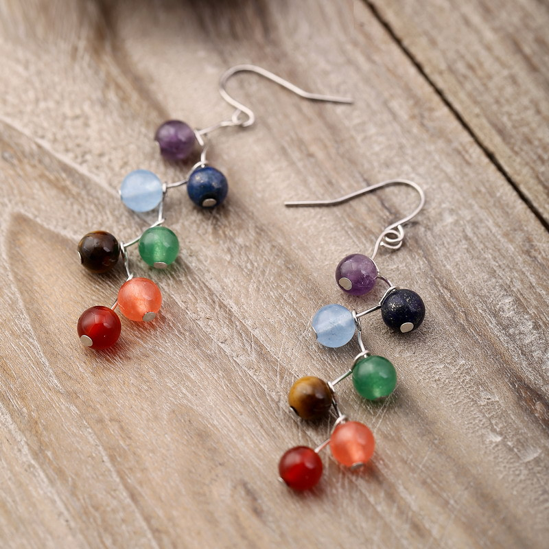 Earrings Of European And American Accessories Girls 7 Color Natural Stone Curved Needle 6mm Alloy Earrings For Female