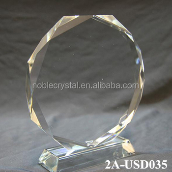 Octagonal Blank Glass Awards Trophy Crystal Plaque