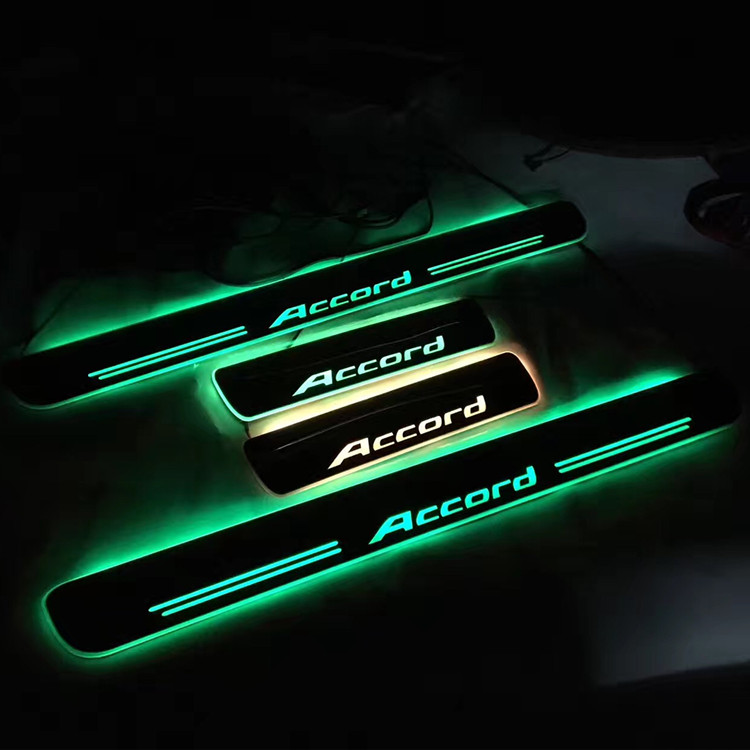 4Pcs LED Moving Light Door Sill Scuff Plate for accord 2016