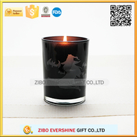 with witch printing glass candle holder for Halloween decorations