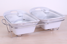 UNICASA New Design divided Ceramic Casserole with glass lid and stand