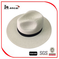 cheap 100% paper ladies white panama straw hat with metal band