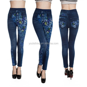exclusive good stretch seamless denim cotton jean print look leggings for women