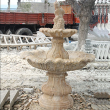factory supplied home decoration used small size yellow travertine stone fountain for outdoor