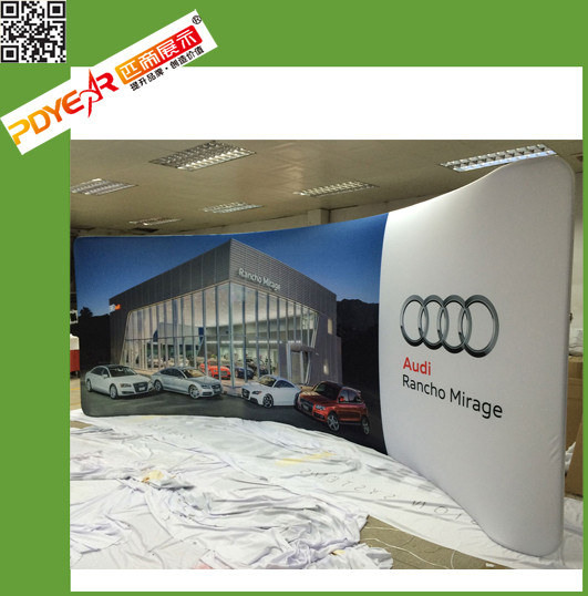 Portable Popular 8ft or 10ft Curve Tension fabric wall display