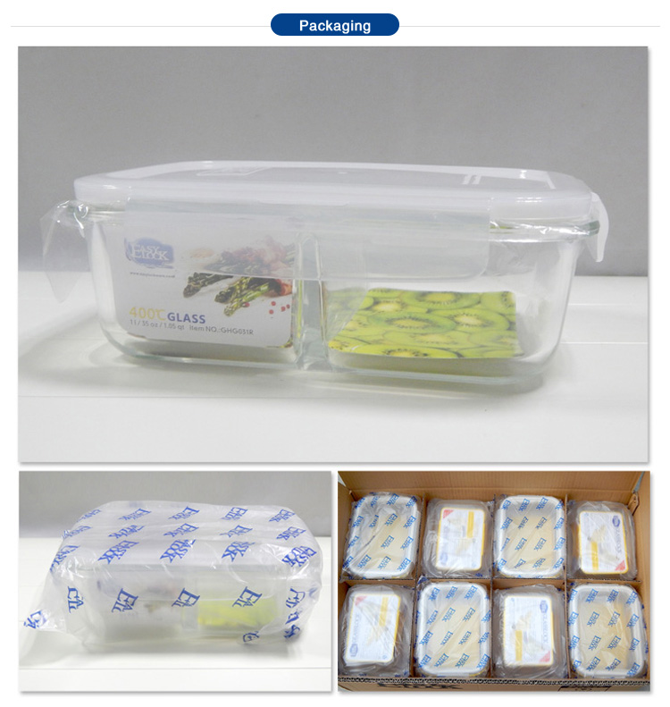 Stackable Divided Glass Lunch Containers for Food