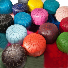Taidian brand wholesale Stuffed embroidered pouf ottomans Moroccan Leather pouf ottoman