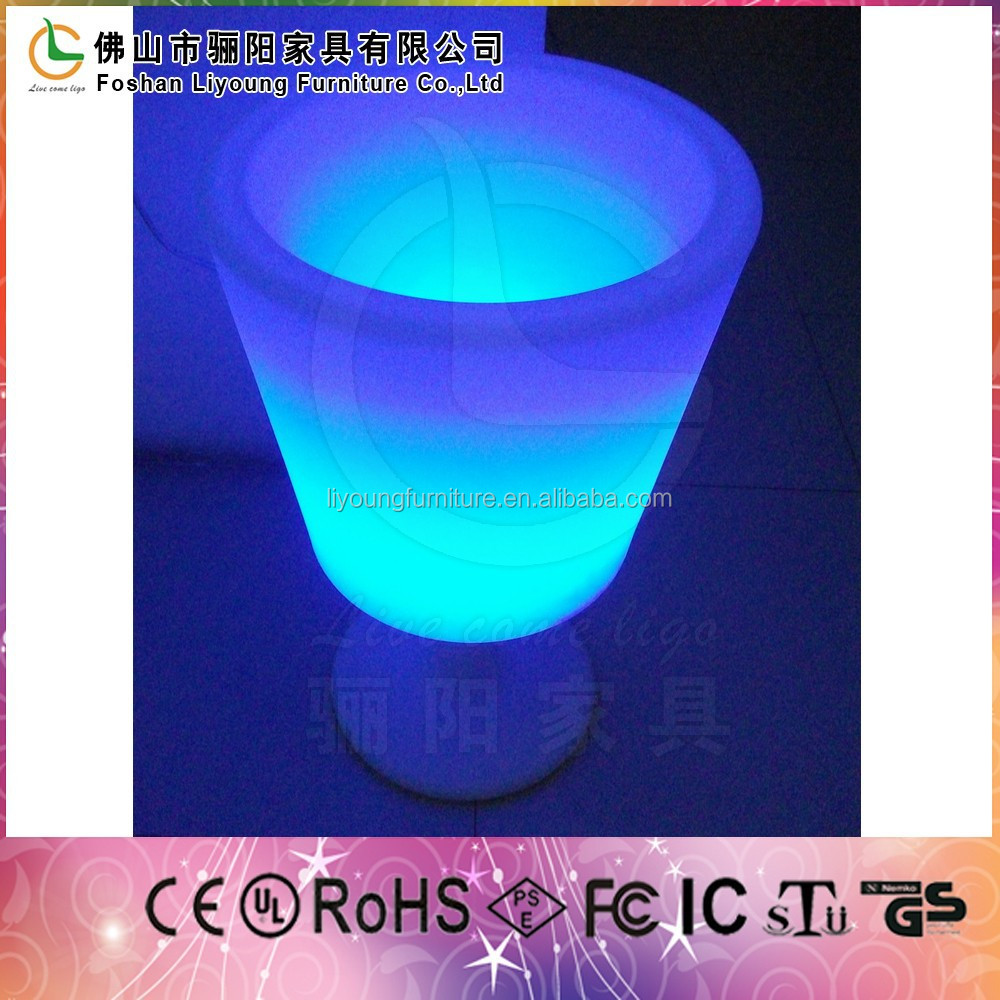 polyethylene inside rgb led colorful wine box outdoor used color changed PE plastic ice bucket holder