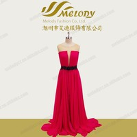 Red chiffon beaded wing floor-length drape long dress evening dress ball gowns and cocktail dresses Train