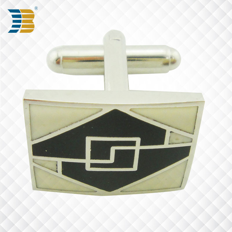square shape custom enamel stainless steel cufflink