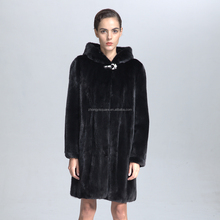 Long Black Mink Fur Coat With Hood For Lady In Winter