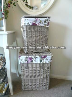 Wicker laundry basket,set of 5,the grey color