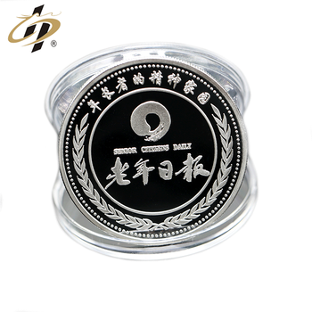 Custom 999 silver stamp mirror effect souvenir coin with plastic case