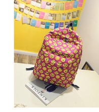Casual Funny Emoji Print Backpack Smile Face Backpack for <strong>School</strong>