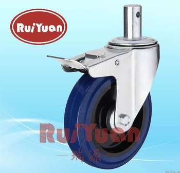 Stem Swivel Elastic Rubber wheel Standard industrial caster