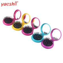 yaeshii Promotion hot sale round private label folding hair brush with mirrors for gift