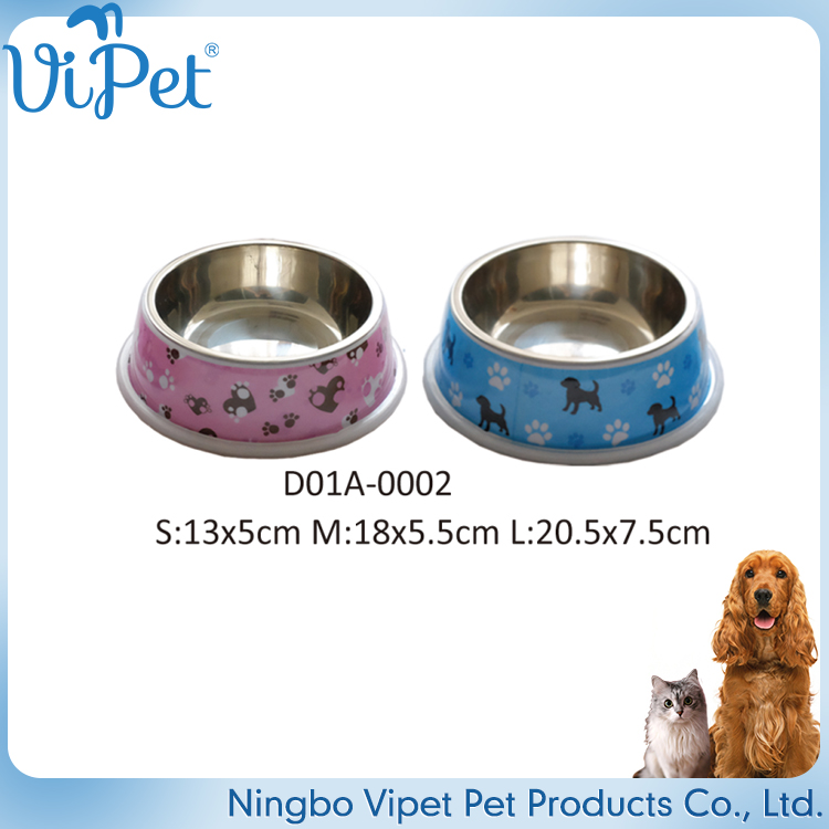 Cute non-toxic pet customized stainless steel dog water bowl