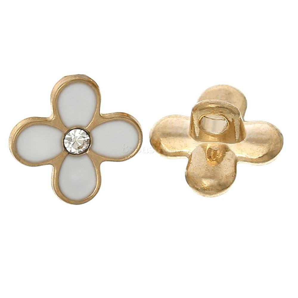 Cheap Enamel Flower Gold Plated Single Hole Copper Buttons for Decorating