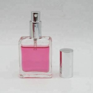 Mini flat square crystal cologne perfume bottle 40ml with mist sprayer