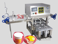 New condition Automatic 4 Yoghurt cups sealing machine/sealer machine/ 4 heads cutter and sealer machine