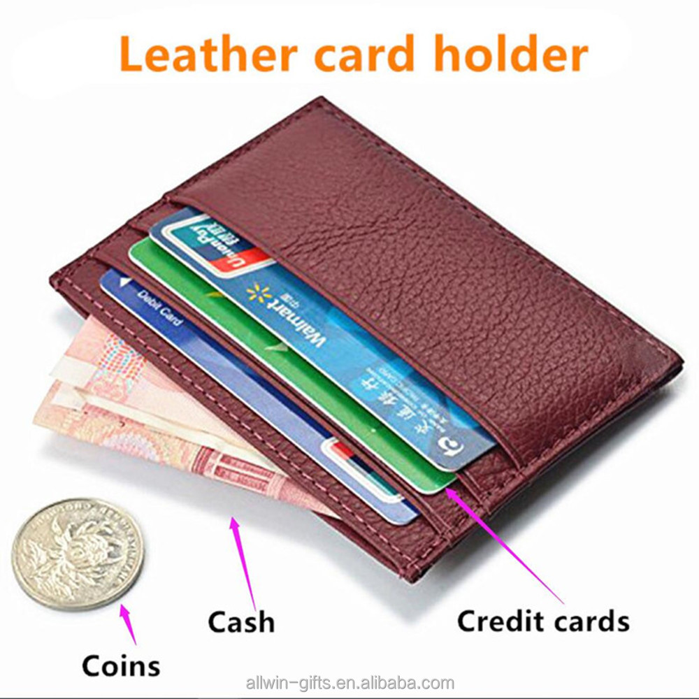 RFID blocking mens genuine leather credit card holder slim wallet