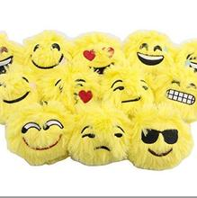 Plush emoji cushion with long fur for decoration