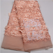 African lace fabric 2017 high quality lace peach tulle styles 3d flower laces for wholesale XZ605B