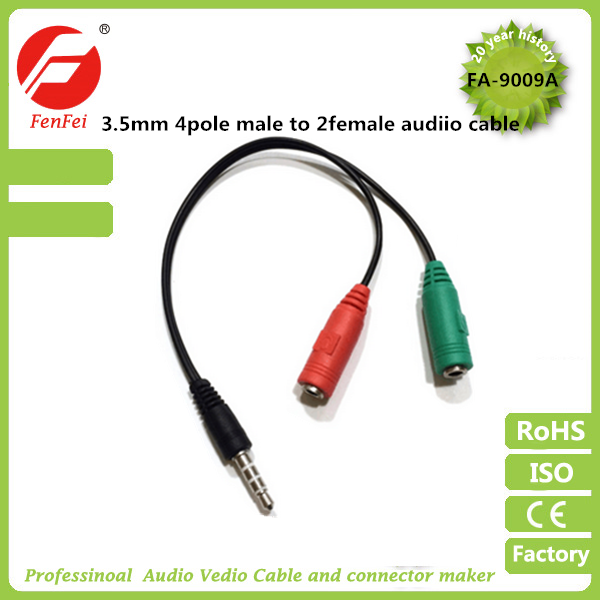 3.5mm 4pole headset mocrophone cabo de audio aux cable for aux automobile Mp3 CD Player Laptop or Mobile Phone