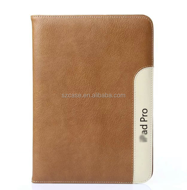 Luxury Holding Bag Book Style Genuine Leather Stand case for Ipad Pro 9.7""
