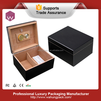 High-end Black Lacquer Cigar Box Guitar & Cuban Wood Cigarette Box Case For Sale(WH-3864)