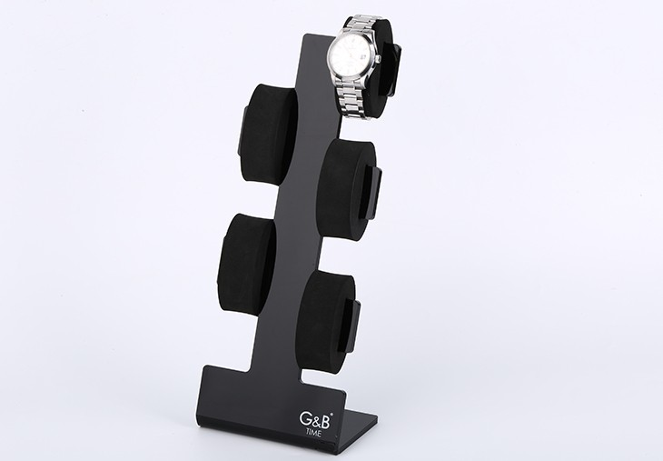 China gold supplier customzed black acrylic watch display holder