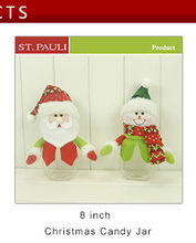 8inch factory wholesale christmas holiday decorative santa and snowman canday jar