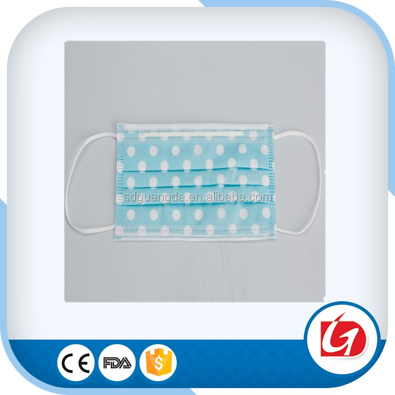 Disposable nonwoven 3ply printed manufacturer eco-friendly gauze mask