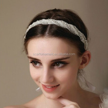 Beautiful Ladies One /Double Row Rhinestone Handmade Beaded Wedding Hair Bands For Forehead Decoration Bridal Head Ribbon Band