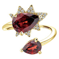 Brass jewelry luxry ruby ring real gold plated finger ring
