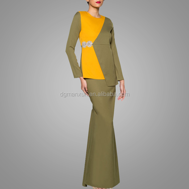 2018 Newest Fashion Baju Kurung Wholesale Kebaya Design Muslim Women Clothing Hotsale Two Pieces Malaysia Kebaya Suit