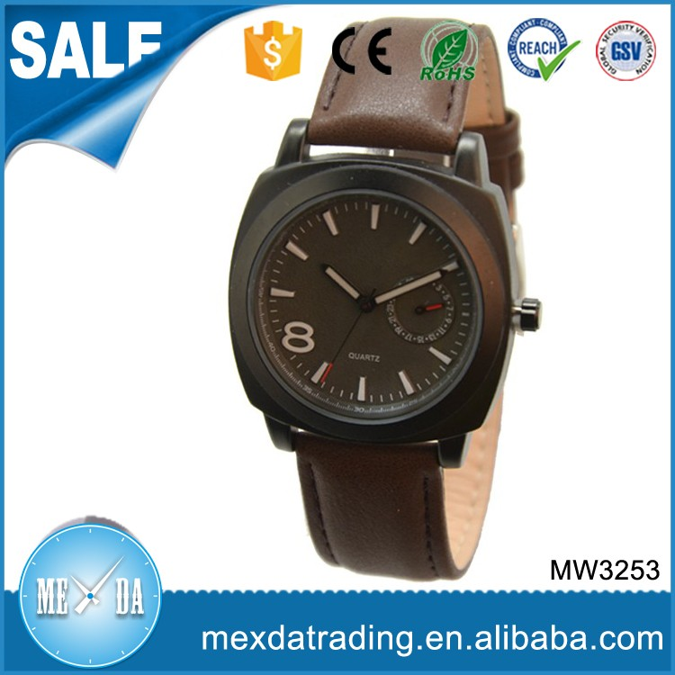 Simple design sport type japan movt genuine leather oem men watch