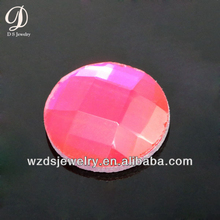 Wholesale AAA Flatback Checker Cut Faceted Round Rose Red Lab Plastic Gem Gemstone Cabochon Beads