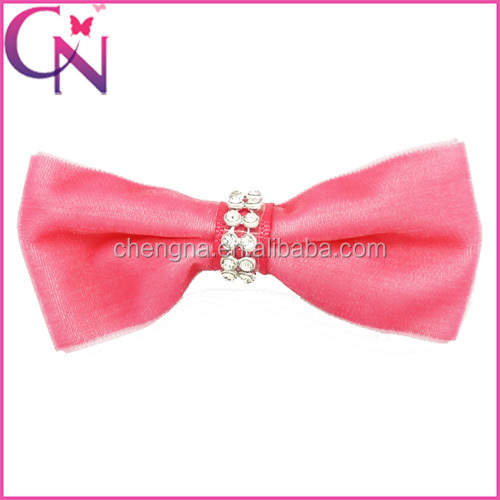 Hot sale Boutique velvet Kids Hair Bow with Crystal Center For baby Girls