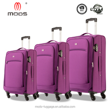Layle 4 wheel water-proof expandable softside polyester trolley case luggage
