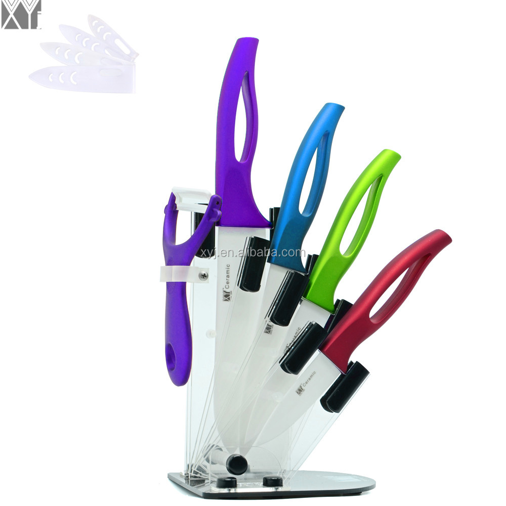 Xingye Kitchen Knife Factory 3 4 5 6 Inch Ceramic Blade Bright Color Handle With 4 Pcs Ceramic Knife Sets Holder