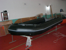 5m first-rate outdoor game super durable inflatable black boat with aluminum floor.