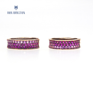 Purple zircon earring sterling silver small hoop earrings for women