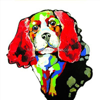 100% Hand Painted Abstract Knife Lovely Dog Painting For Living Room 59864