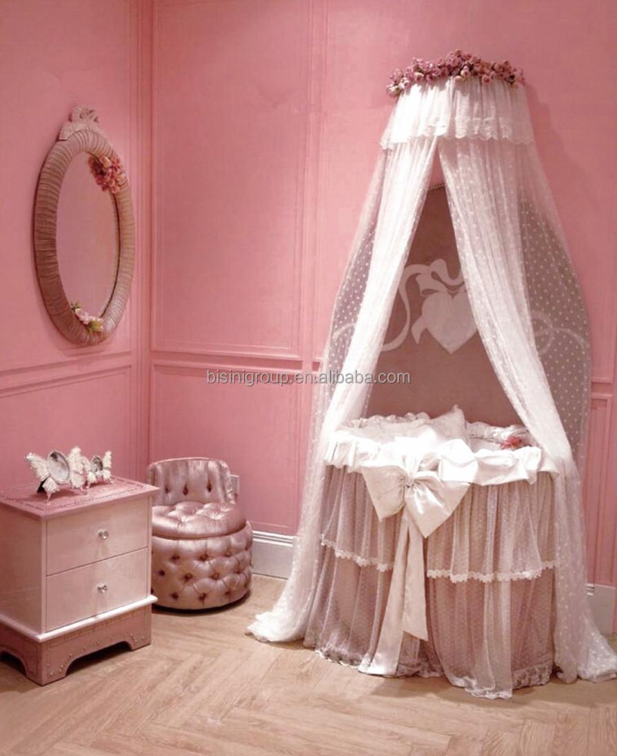 Modern Round Baby BassinetPrincess Pink CradleEuropean Style Ivory White Crib
