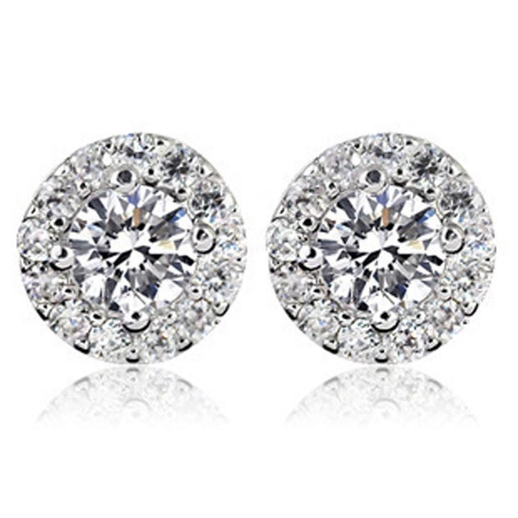 925 stering silver with clear diamond earring