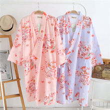 Summer Sakura Style Robes For Women Cotton Kimono Robes Floral Spa Bath Robe