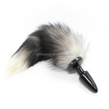 Metal White Fox Tail Anal Plugs Stainless Steel Silver Butt Plugs