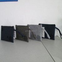 fashion women clutch bag with felted fabric , pu ,pvc, canvas cotton material